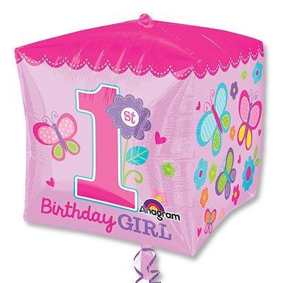 Шар 3D КУБ 1-й День Рожденья девочка 1209-0145