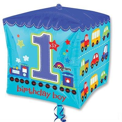 Шар 3D КУБ 1-й День Рожденья мальчик 1209-0146