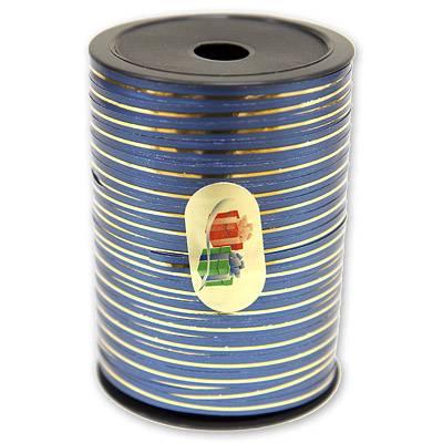 Лента синяя с золотой полосой, 5 мм, Ит 1302-0499