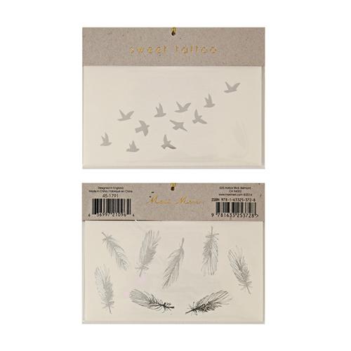 """Переводные татуировки """"Птички и перья"""", серебро 134857"""