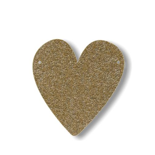 """Акриловая подвеска для растяжки """"Сердце"""", мерцающее золото"""