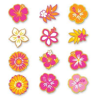 Баннер-комплект Гавайи Цветы ассорт 12шт 1401-0144