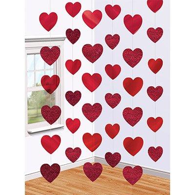 Украшение на дверь Сердца красные 2,1м 1407-0050