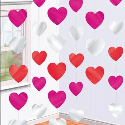 Гирлянда вертик Сердца разноцв 2,1м 6шт 1407-0051