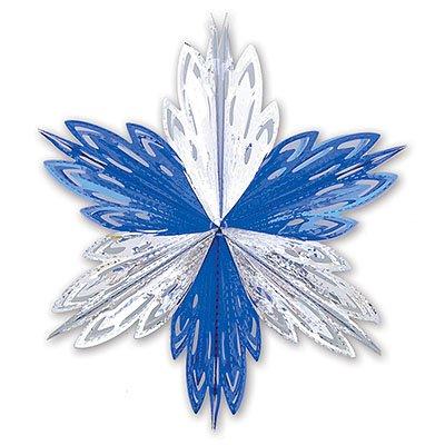 Украшение Снежинка 1 сереб/синяя, 40см 1410-0415