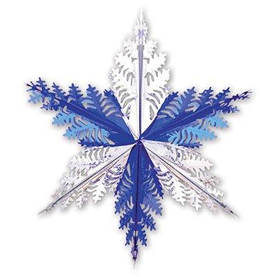 Украшение Снежинка 3 сереб/синяя, 60см 1410-0424