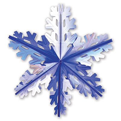 Украшение Снежинка 4 сереб/синяя, 60см 1410-0425