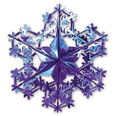 Украшение Снежинка 2 фольга синяя, 90см 1410-0450