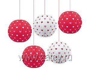 Фонарики бумажные Св.Валентин, 5 штук 1410-0540