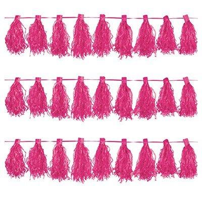 Гирлянда с кисточками ярко-розовая 1410-0564