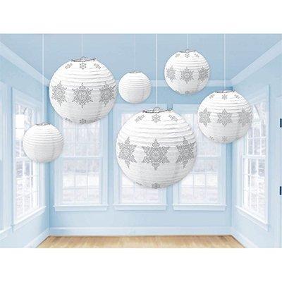 Фонарики бумажные Снежинки серебро, 6 шт 1410-0611