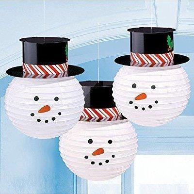 Фонарики бумажные Снеговик в шляпе, 3 шт 1410-0613