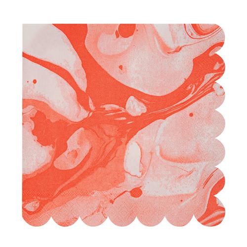 """Салфетки """"Мрамор"""", коралловые, большие 145936"""