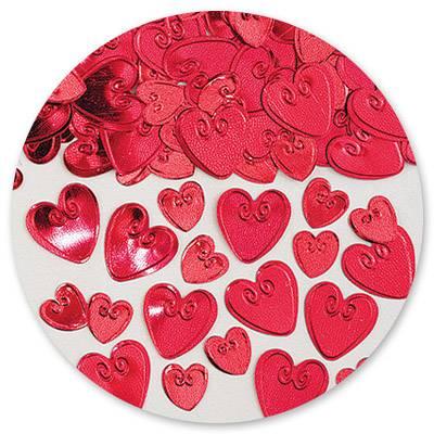 Конфетти Сердца с вензелем красн 14гр 1501-0209