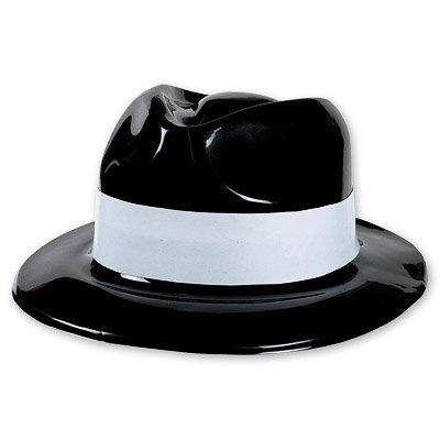 Шляпа Гангстер пластик с бел полосой 1501-1260