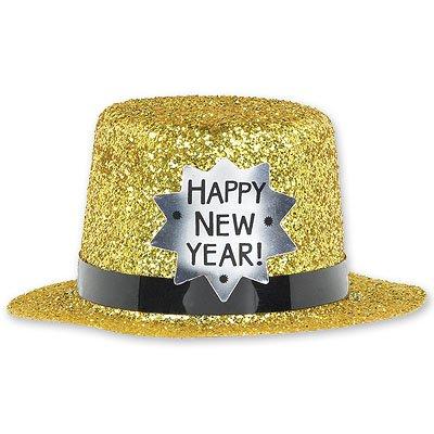Шляпа мини Happy New Year золото, 12 см 1501-1546