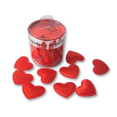 Конфетти Сердца 3D тканевые красные,35шт 1501-1934