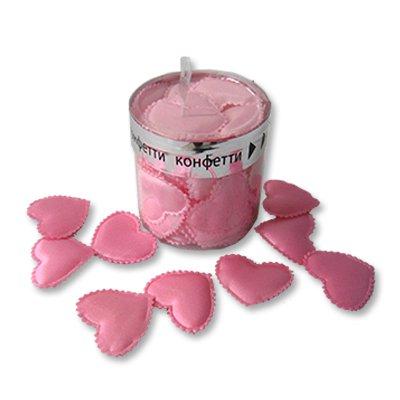Конфетти Сердца 3D тканевые розовые,35шт 1501-1935
