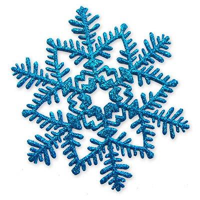 Снежинка пластик блеск голубая, 16 см 1501-2076