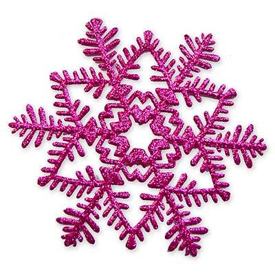 Снежинка пластик блеск розовая, 16 см 1501-2077