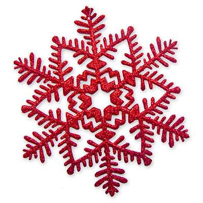 Снежинка пластик блеск красная, 16 см 1501-2079