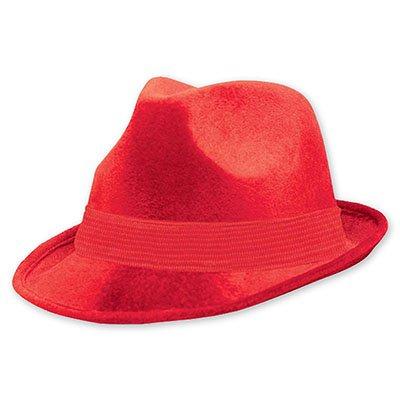 Шляпа-федора велюр Красная 1501-2191