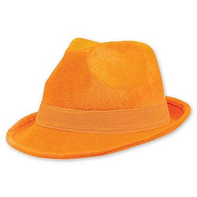 Шляпа-федора велюр Оранжевая 1501-2193