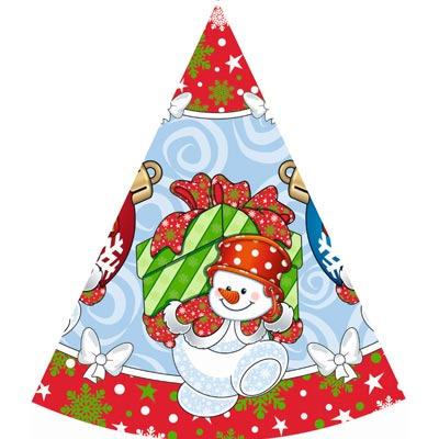 Колпаки НГ Снеговик с подарками 1501-2410