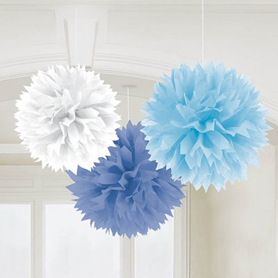 Помпоны Голубое Облако, 40 см, 3 штуки 1501-2469