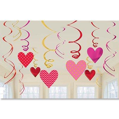 Спираль Сердца красные и розовые, 12 шт. 1501-2663