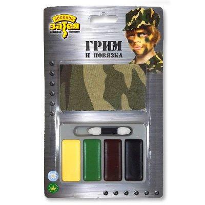 Грим Камуфляж,4 цвета+повязка+аппликатор 1501-2688