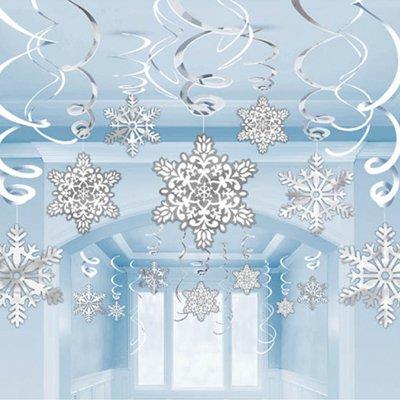 Спирали Снежинки белые,серебряные, 30 шт 1501-3336