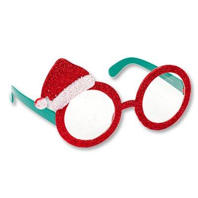 Очки Колпак Санты, блеск красные 1501-3652