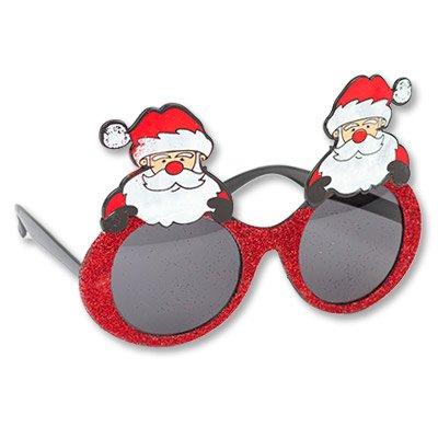 Очки Дед Мороз, блеск красные 1501-3653