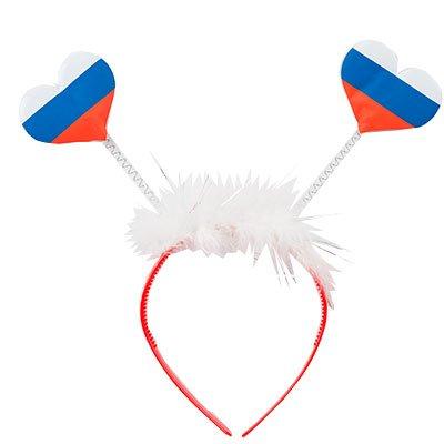 Ободок флажки-сердечки триколор 1501-3726