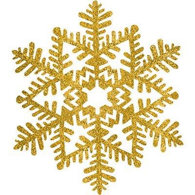 Снежинка пластик блеск золотая, 16 см 1501-3793