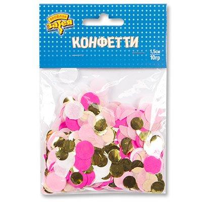 Конфетти Круги тишью, фольга Розов/Золот 1501-4088
