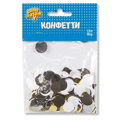 Конфетти Круги тишью, фольга Золото/Черн 1501-4091