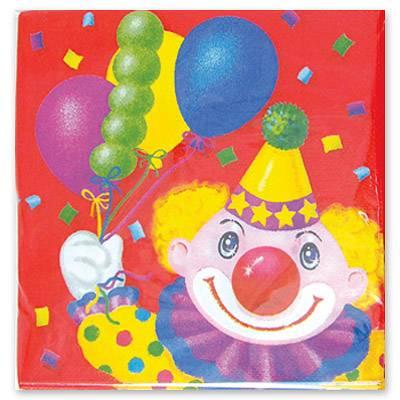 Салфетка Клоун с шарами 33см 12шт 1502-0463