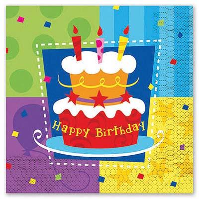 Салфетка Торт Birthday 33см 12шт 1502-0707