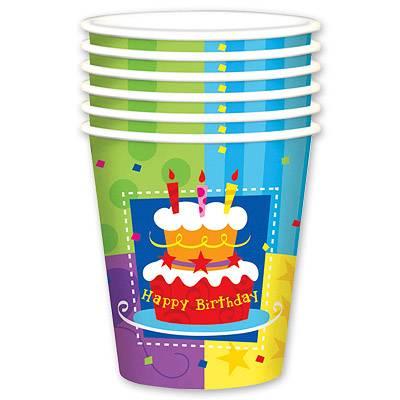 Стакан бум Торт Birthday 190мл 6шт 1502-0709