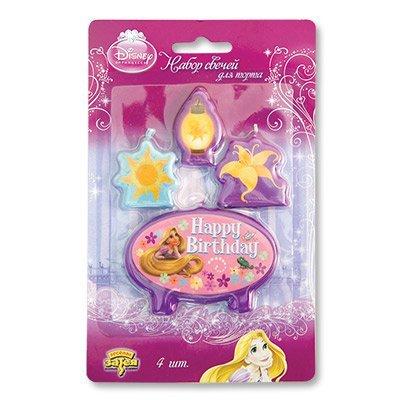 Свечи для торта для девочки Disney HB Рапунцель, 4шт 1502-0948