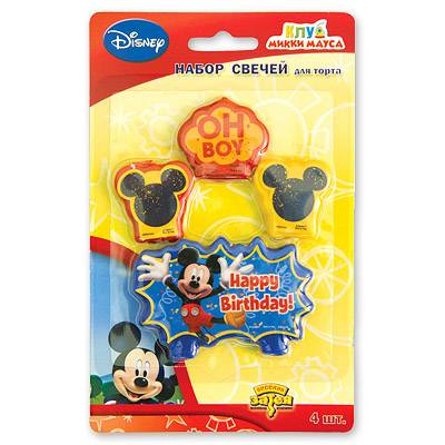 Свечи для торта Disney Микки Маус, 4 шт. 1502-0950