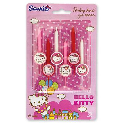 Свечи для торта Hello kitty, 6 штук 1502-1051