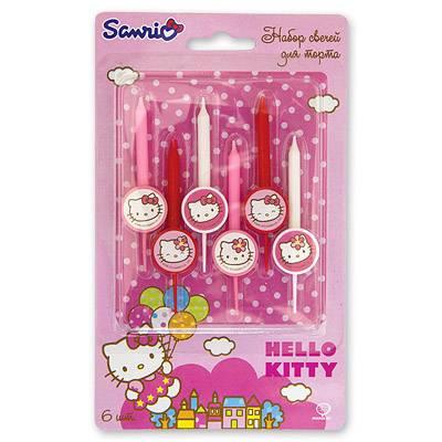 Свечи для торта Hello kitty, 6 штук 1502-1051