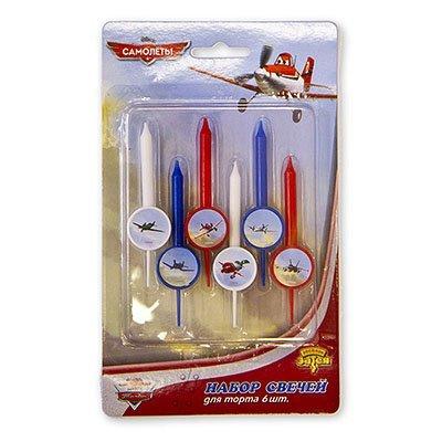 Свечи для торта Disney Самолеты, 6 штук 1502-1174