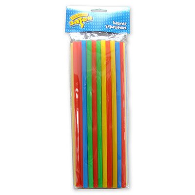 Толстые трубочки для коктейля разноцветные 8 мм 1502-1175