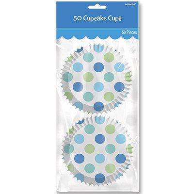 Тарталетки бумажн. Горошек голубой, 50шт 1502-1598
