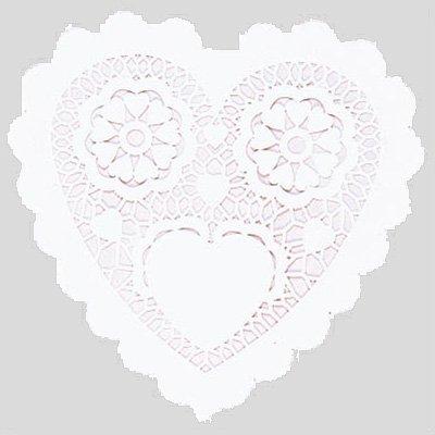 Ажурные небольшые салфетки в форме сердца, белые, 9 см 1502-1700