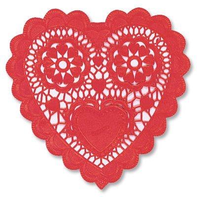 Салфетки ажур Сердце красное 25 см 12 шт 1502-1702